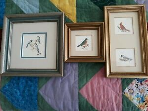 3 Small Vintage Hand Colored  Framed and Matted Etchings birds Signed GOOSTRAY