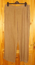 MONSOON mocha fawn brown PURE LINEN summer holiday casual trousers 18 46