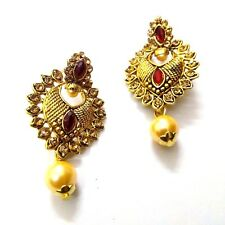 Golden Oxidized Rhinestone Earrings Ethnic Imitation Jewelry Dangle Drop EA15