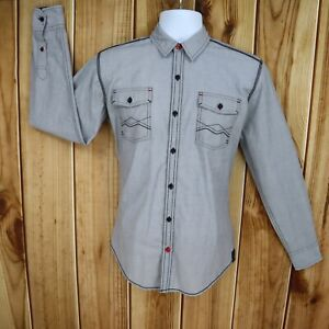 Tranquility & Mayhem Shirt Casual Button Up Mens Sz S Gray Cotton Stitch Accents