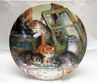 """Playful Kittens Cat Selfmann Weiden 1992 Collector Plate """"Wasserspiele"""" Bradford"""