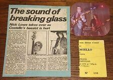 ELVIS COSTELLO ATTRACTIONS NICK LOWE MICKY JUPP HEMEL HEMP TICKET 1978 + PHOTO