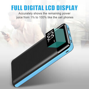 500000mAh Portable LCD Power Bank External 3 USB Battery Charger For Cell Phone