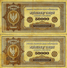Pologne POLAND .2 X BilletS  50000 ZLOTYCH 1922. H.ET I .INFLATION. CIRCULES
