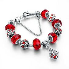 Silver Glass Beads Bracelet With Red Crystal European Charms Fit Women