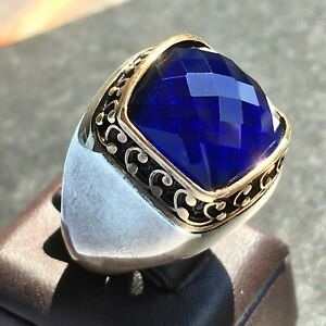 925 Sterling Silver Mens Ring with Blue Sapphire Artisan Handcraft Jewelry 11us