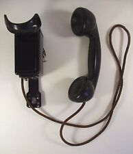 Vintage WESTERN ELECTRIC Black Metal PHONE Space Saver NO DIAL Wall TELEPHONE