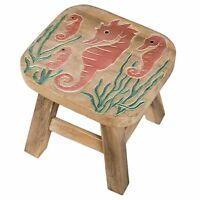 Seahorse Design Hand Carved Acacia Hardwood Decorative Short Stool