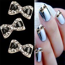 10Pcs Nail Art Decor 3D Bow Knot Glitter Rhinestone Manicure DIY Alloy Jewelry