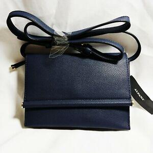 Alfani Mini Toggle Crossbody Bag Navy Blue Gold Faux Leather Card Slots Phone
