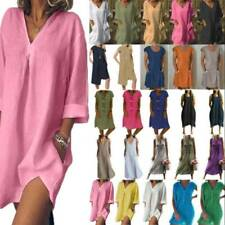 Womens Loose T-Shirt Dress Ladies Holiday Casual Beach Mini Dresses Plus Size