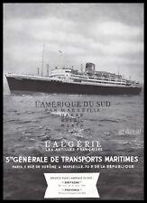 Publicité CGT Transatlantique Brésil  Brazil Paquebot Ocean Linervintage ad 1953