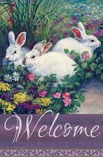 #63 WELCOME 3 WHITE SPRING RABBITS  EASTER LARGE HOUSE FLAG 28X40 BANNER