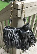 Chocolate New York Pewter Metallic Handbag Satchel Faux Leather Fringe Purse