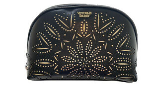 Victoria's Secret BLACK/ GOLD Laser Cut Floral Petal & Gold Stud Beauty Glam Bag