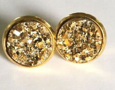 GOLD SPARKLING DRUZY RESIN ROUND GOLD CLIP ON EARRINGS 12MM