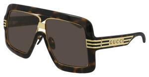 GUCCI GG0900S 002 Havana Gold Brown Lens Square Large Men Sunglasses Authentic