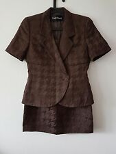 Ladies Louis Feraud Brown Houndstooth Pattern Jacket And Pencil Skirt Suit S/M