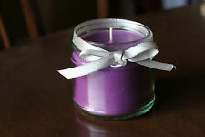 Round solid colour jar candle, purple paraffin wax silver ribbon