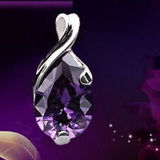 Women fashion Jewelry Purple Amethyst Crystal Teardrop Pendant For Necklace Gift