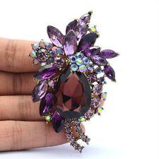 "Delicate Purple Rhinestone Crystals Teadrop Flower Pendant Brooch Pin 2.9""4997"