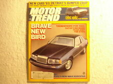 Motor Trend 1982 October Thunderbird Cadillac Mustang Hurst Oldsmobile Pontiac