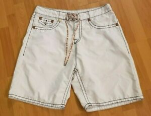 Men's True Religion Swim Shorts Board Shorts Surf White Size 36