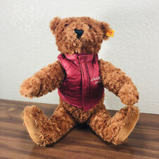 Steiff Teddy Bear for Eddie Bauer Quilted Red Vest Tag & Ear Button 671951 NICE