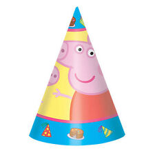 8 Peppa Pig Cartoon Children's Birthday Party Paper Cone Hats