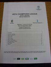 15/02/2011 AC MILAN V Tottenham Hotspur [UEFA CHAMPIONS LEAGUE] - Stampato MATCH