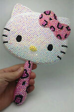 ]Bling Deluxe Leopard Hello Kitty Crystal Makeup Hand Held Mirror! Best Gift!