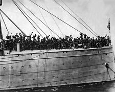 New 8x10 World War I Photo: Soldiers of U.S. Transport HANCOCK Headed for France