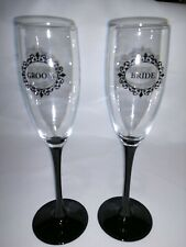 Pre-owned Bride And Groom Champagne Glasses Wedding Flutes Toast Wine