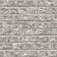 Vlies Tapete Bruchstein Stein Mauer Ziegelstein braun grau 68621 klinker