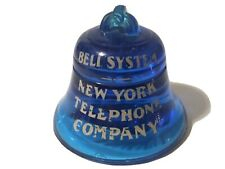 Vtg New York Telephone Company Bell Advertising Glass Cobalt Blue Paperweight