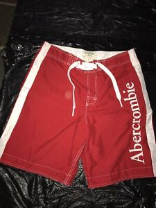 ABERCROMBIE & FITCH MEN'S BOARD SHORTS SEXY LINED RED LARGE