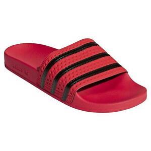 adidas ORIGINALS MEN'S ADILETTE SLIDERS RED BLACK TREFOIL SLIDES SANDALS HOLIDAY