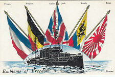 WW1 Flags of the Allies Emblems of freedom patriotic postcard Cruiser ship