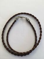 Western Necklace Braided Horse Hair 6mm Brown NO EXTENDER Decorative Tips
