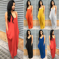 Women's Boho V Neck Spaghetti Strap Backless Long Maxi Dress Summer Casual Beach