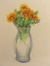 COLORED PENCIL drawing   flowers marigolds in vase