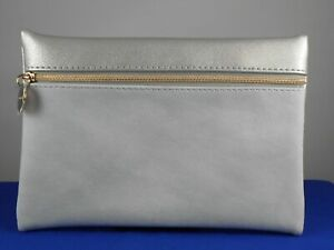 Bareminerals Gray Metallic Silver Faux Leather Suede Zip Pouch Cosmetic Bag