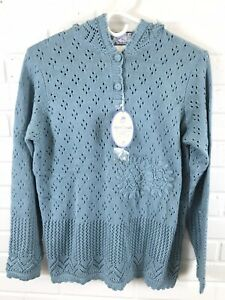 April Cornell Two-Button Crochet Hood Long Sleeve Sweater Size S