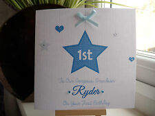 Handmade Personalised 1st Birthday Card First 2 3 4 Boys Son Grandson Godson etc