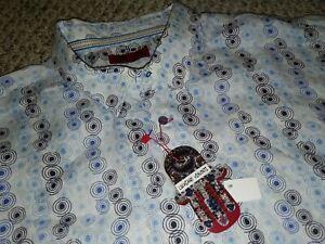 Luciano Visconti Linen Whimsical Dot Blue White Shirt NWT 5XL