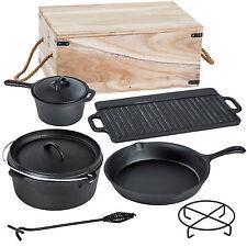 Lot de 7 pièces poêle casserole en fonte plaque gril set cuisine camping