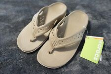 CROCS SWIFTWATER DECK FLIP FLOPS MENS SANDALS(10)RELAXED FIT KHAKI 204961-26P