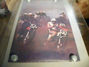 Vintage Motocross Dirt Bike Race Poster 1969 24x36 New Old Stock