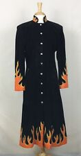 Leather Coat Duster Sz 10 Women Trench Black Long Vintage Tribe America Flames