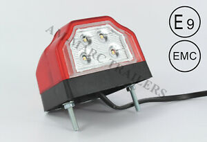 12-24V RED LED COMBINED REAR NUMBER PLATE AND MARKER LAMP LIGHT TRUCK TRAILER